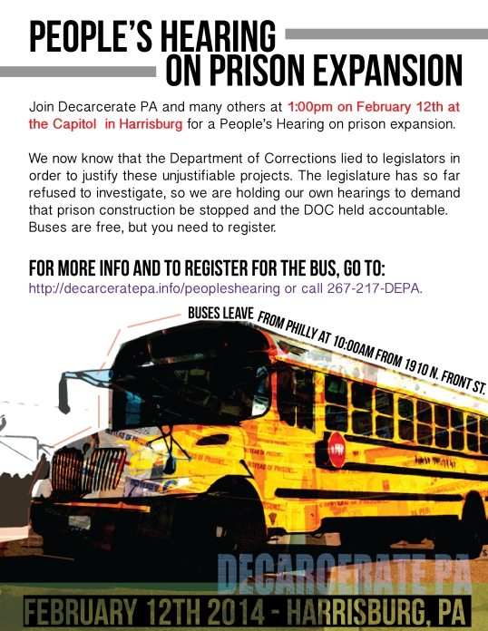RESCHEDULED FOR FEBRUARY 12th: PEOPLE'S HEARING ON PRISON EXPANSION